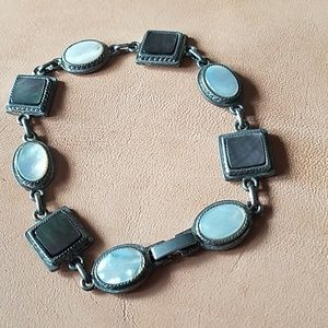 Silver chain linked and shell inlay bracelet